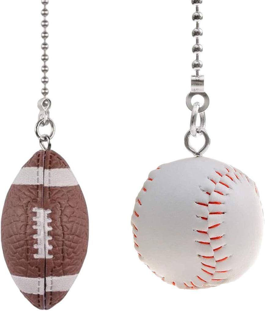 Cadenas deportivas para ventilador de techo, diseño de pelota de béisbol y fútbol con cadena de extensión de bolas de níquel de 12 pulgadas compatible con ventiladores de techo Hunter