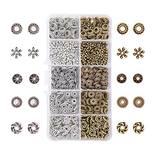 AIEX 500 Pieces 5 Style Silver Bronze Spacer Beads Jewelry Findings for Bracelet Necklace Jewelry Making
