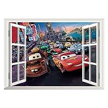 Fange DIY Removable Pixar Cars Lightning McQueen 3D Window View Art Mural Vinyl Wall Stickers Kids Room Decor Nursery Decal Sticker Wallpaper 27''x19''
