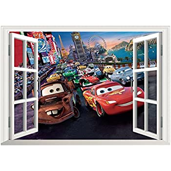 Fangeplus(TM) DIY Removable Pixar Cars Lightning McQueen 3D Window View Art  Mural Vinyl Part 90