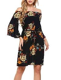 Zeagoo Women's Summer Off Shoulder Strapless Floral Print Pleated Dresses