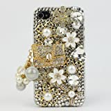 NOVA CASE Glamour Series 3D Bling Crystal iPhone Case for iPhone 4/4S - Floral Coco Bag (Package includes: soft pouch, screen protector, extra crystals)