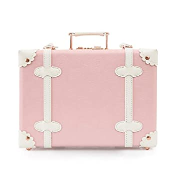 ca8267f3998f Women Pu Leather Cute Vintage Carry On Luggage Cosmetic Suitcase with  Straps Princess Pink 16