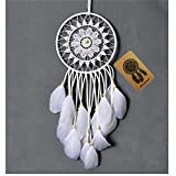 Dremisland Dream catcher handmade traditional white feather dream catcher wall hanging car hanging decoration ornament gift