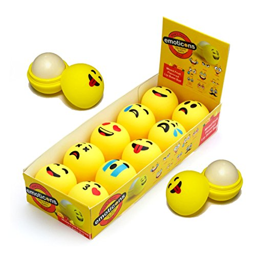 Lavender Pumpkin Pie (Emoji Lip Balm Set of 10 Emoticon Themed Chaptstick Balls Mixed Fruit Flavors With Counter Top Display Box (Pack of 10)