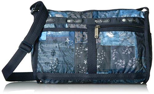 LeSportsac Classic Deluxe Shoulder Satchel Handbag, Denim Quilt (Quilt Purse Handbag)
