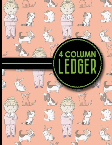 """4 Column Ledger: Ledger Pad, Accounting Ledgers For Small Business, Home Ledger Book, Cute Veterinary Animals Cover, 8.5"""" x 11"""", 100 pages (Volume 27) pdf epub"""