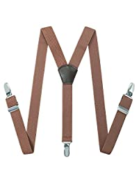 Toddlers Kids Boy's Men's Suspenders - Y Back Stretchy Straps Strong Clip Leather Braces Suspenders (Coffee, 27.6-29.5 Inch (3 Years - 8 Years))