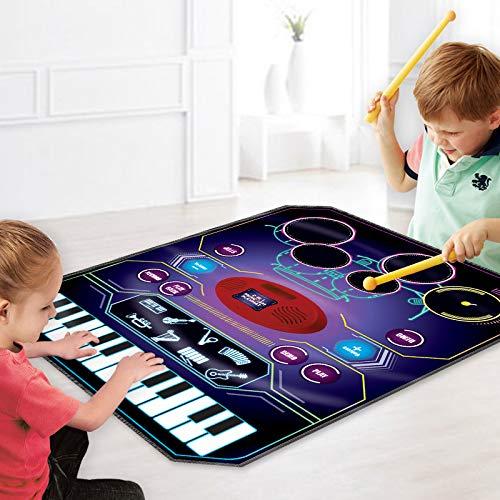 BAKAJI Tappeto Musicale 2in1 Doppio Strumento Batteria e Tastiera con Amplificatore per Mp3 8 Melodie Strumenti Musicali e Bacchette Playmat Bambini Dimensione 69 x 90 cm