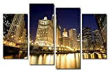 Picture Sensations Framed 4-Panel canvas Art Print, Downtown Chicago River City Skyline - 48''X32''