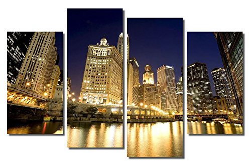 Picture Sensations Framed 4-Panel canvas Art Print, Downtown Chicago River City Skyline - 48''X32'' by Picture Sensations