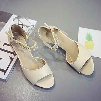 pwne Club De Mujeres Sandalias Zapatos Casual Ropa De Verano Pu Rhinestone Imitación Perla Hebilla Chunky Talón Rubor Rosa Beige 3A-3 3/4 Pulg. US7.5 / EU38 / UK5.5 / CN38