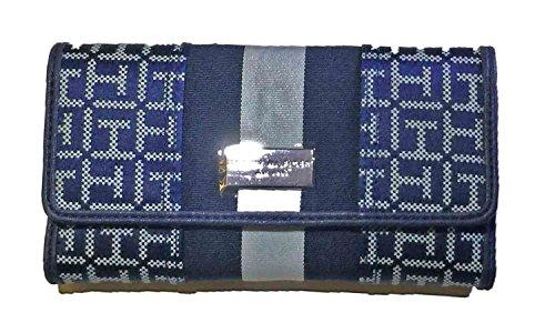 Tommy Hilfiger Signature Jacquard Tri-fold Checkbook Wallet Navy, Large