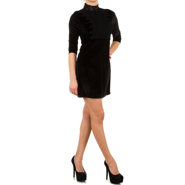 Damen Kleid Samtlook Spitzen Gothic Cocktailkleid Minikleid 36-40 kaufen