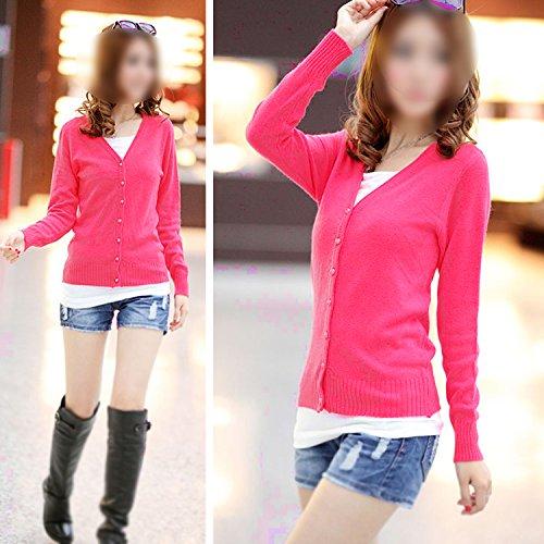 en a SODIAL rose V Cardigan manches R du tricote de col pour femme cachemire Pull rouge en blanc longues vvOrTxg