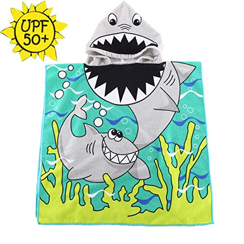 HETH Kids Hooded Beach and Bath Towel Beach Swimming Cover up for Age 2-8 Years Old Multi-use for Bath/Shower/Pool(Shark) ()