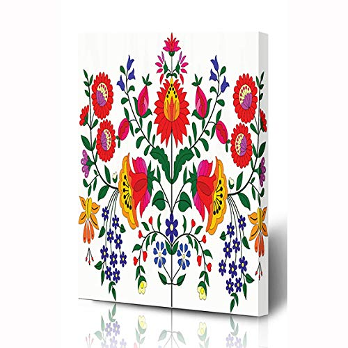 Ahawoso Canvas Prints Wall Art 8x12 Inches Tribal Floral Hungarian Folk Pattern Abstract Drawn Indian Vintage Wooden Frame Printing Home Living Room Office Bedroom