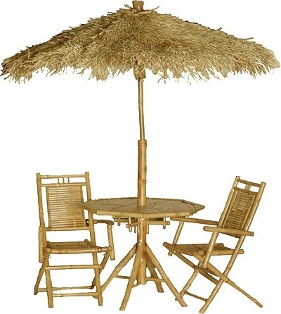 Bamboo 4 Pc Outdoor Dining Set With Umbrella
