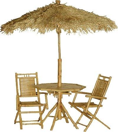 Merveilleux Bamboo 4 Pc Outdoor Dining Set Umbrella