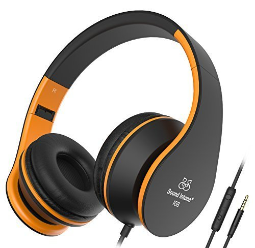 Headphones, Sound Intone Headphones with Microphone, Foldable Headset with Inline Volume Control Strong Low Bass for iPhone iPad Smartphones Laptop Mp3/4 (Black Orange)