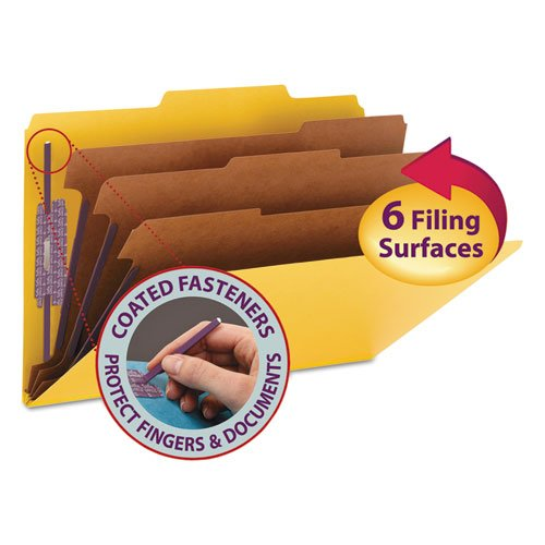 3\ Expansion Classification Folders, 2/5 Cut, Legal, 8-Section, Yellow, 10/Box