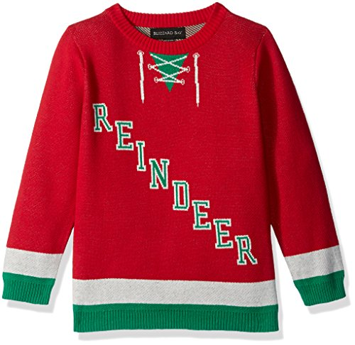 Blizzard Bay Little Boys' Rudolph Hockey Jersey Sweater, White/Green, Red Combo, 5 (Kids Ugly Christmas Sweater)