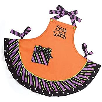 Boss Witch Orange Cotton Adult Apron