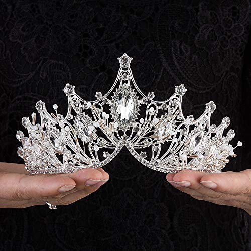 Crownguide Elegant Baroque Wedding Tiaras Crowns for Women Bride Crystal Pearls Queen Crowns Bridal Headpiece Princess Hair Accessories Silver
