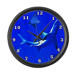 CafePress - Shark and Stingray Large Wall Clock - Large 17 Round Wall Clock, Unique Decorative Clock