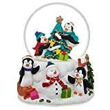 "3.5"" Penguins Decorating Christmas Tree with Ornaments Snow Globe"