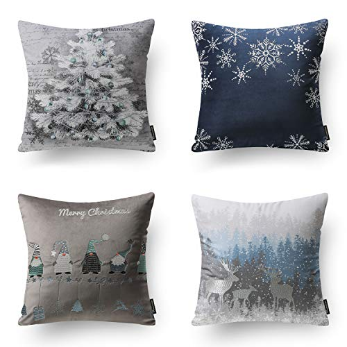 Phantoscope Set of 4 Merry Christmas Soft Velvet with Embroidery Stars and Trees Throw Pillow Case Cushion Cover Blue and Grey 18 x 18 45cm x 45cm