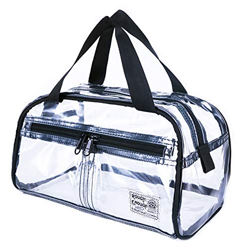 Rough Enough NFL Stadium Approved Durable Fashion Clear Travel Toiletry Bag Transparent Makeup Case Cosmetic Pouch Bathroom Accessories Beach Shower Holder with Handle for Women Home Sport Outdoor