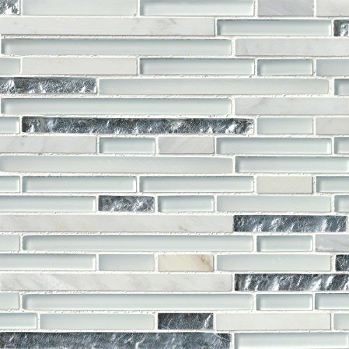M S International Cristallo Interlocking 12 In. X 12 In. X 8mm Glass Stone Mesh-Mounted Mosaic Tile, (10 sq. ft., 10 pieces per case)
