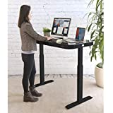 Seville Classics Airlift Height Adjustable Electric Desk with Glass Top + Dual USB Charger, Black