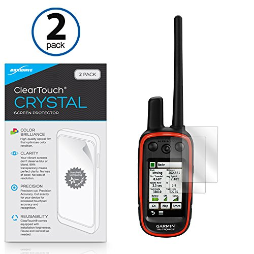 Garmin Alpha 100 Screen Protector, BoxWave [ClearTouch Crystal (2-Pack)] HD Film Skin - Shields From Scratches for Garmin Alpha 100
