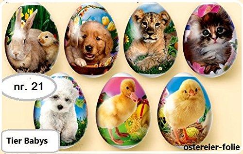 ukrainisches-kunsthandwerk Pellicola termoretraibile per decorare uova di Pasqua, cuccioli di animale, n° 21, per 7 uova