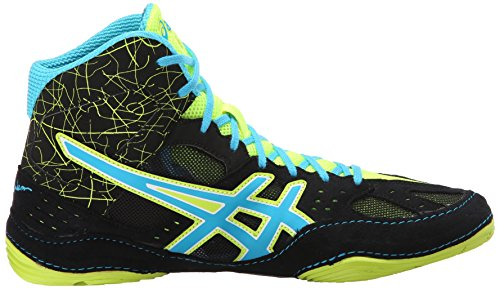 Asics J401Y hombre Cael V6.0 zapatos Black/Atomic Blue/Flash Yellow