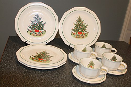 Pfaltzgraff Heritage Holiday 4 Dinner Plates 4 Cups \u0026 4 Saucers Multisided Christmas Tree With Toys-/Discontinued 1981 - 2006 & Pfaltzgraff Christmas Plates. Pfaltzgraff Winterberry 16-Piece ...