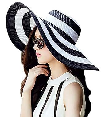 Womens Striped Straw Sun Hat Big Foldable Roll Up Brim