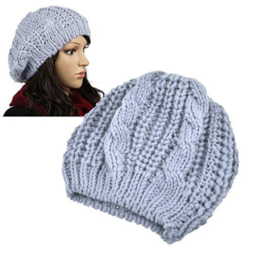 Insten Women Knit Crochet Hat, Light Gray