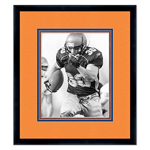 Denver Broncos Black Wood Frame for a 5x7 Photo with a Triple Mat - Orange , Navy Blue, and Football Textured Mats