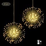 diy outdoor christmas decorations IZZIE LED Firework Lights,2 Pack 8 Modes Dimmable Battery Operated Hanging Starburst Lights with 198 LED,Outdoor Christmas Lights,DIY Copper Wire Lights for Parties Home Outdoor Decoration
