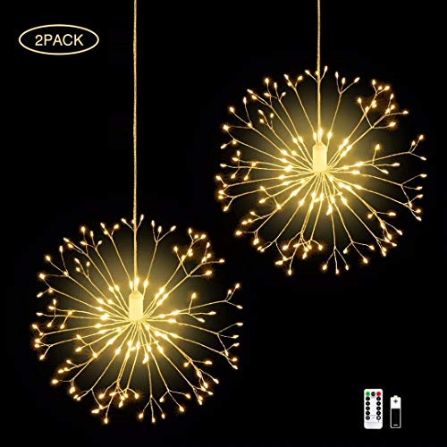 IZZIE LED Firework Lights,2 Pack 8 Modes Dimmable Battery Operated Hanging Starburst Lights with 198 LED,Outdoor Christmas Lights,DIY Copper Wire Lights for Parties Home Outdoor Decoration