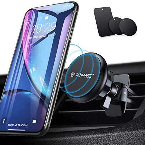 VANMASS Handyhalterung Auto Magnet Handyhalter fürs Auto 2019 Upgrade 6 Superstark Magnete Lüftung mit 4 Metallplatte Auto Handyhalterung 360° Drehbar Universal für iPhone Samsung Huawei Gerät bis 4KG