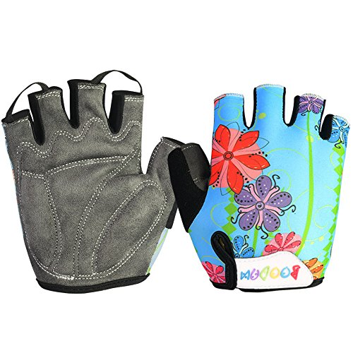 Cycling Bicycle Riding Training Cycling for Boy Girl Child Children Kid Half Finger Bicycle Gloves Breathable Anti-Slip Gloves 015 (Blue Flower, M(Child))