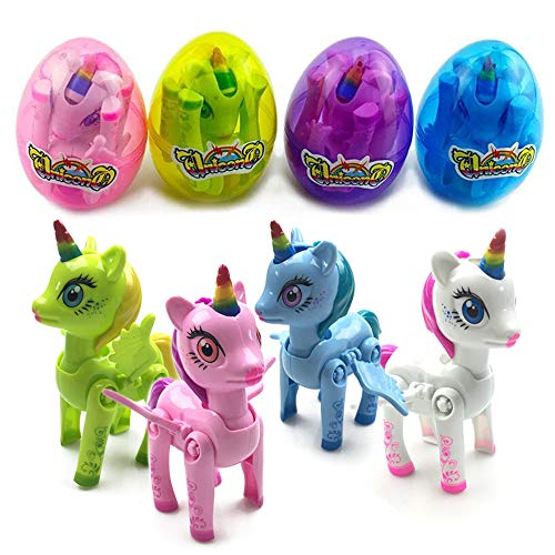 Happy Easter Gift - Jofan Jumbo Unicorn Deformation Easter Eggs with Rainbow Unicorn Toys Inside for Kids Boys Girls Party Supplies Favors (4 Pack)