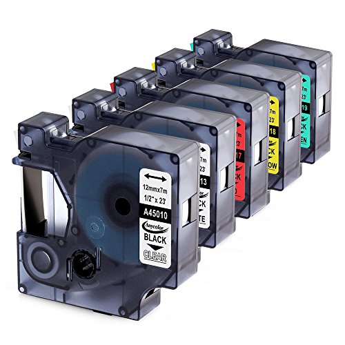 Compatible with Dymo D1 Labeling Tape 45013 45010 45017 45018 45019 Multi-Color replaceme for DYMO LabelManager 160 280 210D Refills, Black on Clear/White/Red/Yellow/Green, 1/2 Inch x 23 Feet, 5-Pack