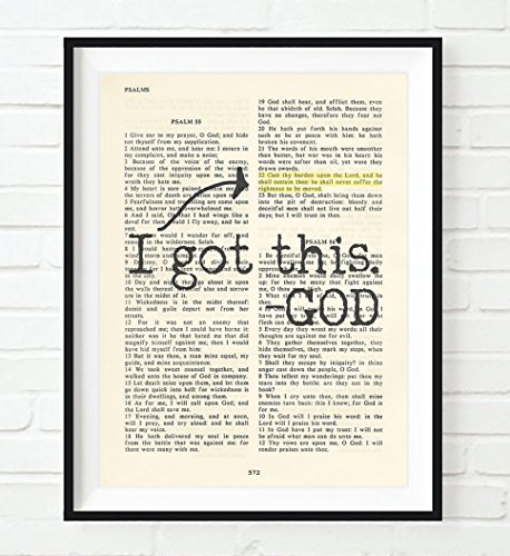Encouragement Gift (I got this - God - Psalm 55:22 -Cast your cares on the Lord - Christian UNFRAMED reproduction Art PRINT, Vintage Bible verse scripture wall & home decor poster, encouragement gift, 5x7 inches)