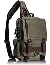 Leaper Canvas One Strap Sling Cross Body Messenger Bag Shoulder Backpack Rucksack Medium Army Green