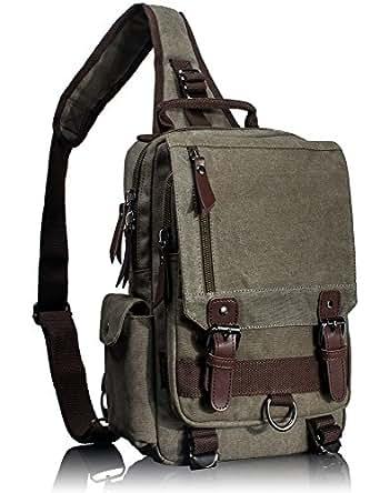 f53858bc1b Amazon.com  Leaper Retro Messenger Bag Canvas Shoulder Backpack ...